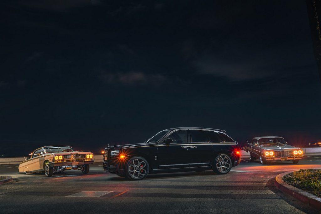 Rolls-Royce Cullinan в американском городе Los-Angeles с лоурайдерами